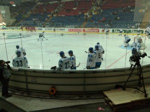 The Finnish team preparing for their game in the 2009 World Championships. Photo copyright Fennobiz.